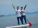 【神奈川県・湘南】江ノ島の見えるビーチでSUPスクール・1回コースの様子