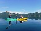 【山梨・本栖湖】 富士山を眺めながら優雅なひと時を!カヤック体験(半日コース)の様子