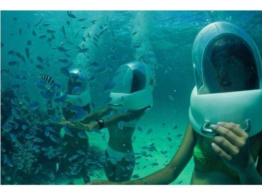 【沖縄・恩納村水中散歩】顔が濡れなくて海底を自由に散歩シーウォーク!写真データーサービス付
