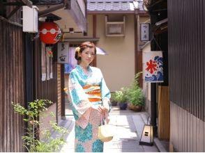 [京都東山區]3218日元(含稅)!把汗衫的形象,和服腰帶,包包,涼鞋是5件套★和服租賃離開它計劃