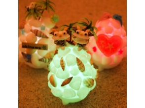 [Okinawa Onna] LED lamp <mini shell lamp handmade experience> trappings in the shell image of