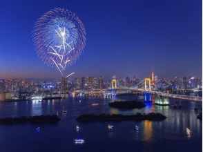 Watching Odaiba fireworks from the Tokyo Tower big Observatory! Tokyo Minato Festival tour & refreshing cruise bus tour 【10006】