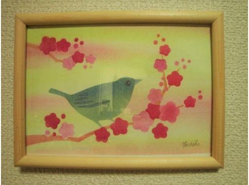【石川・七尾・パステルアート】初心者大歓迎「花嫁のれん・加賀友禅着物柄」うぐいすB6サイズ制作コース