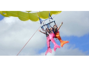 【Okinawa · Uruma City】 Become a longing mermaid ♪ Photo shooting plan & parasailing 150 m course!