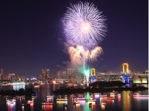 "【Asakusabashi boarding ship】 ""Odaiba fireworks and Yaoi boat viewing cruise"" Tempura Sushi & all you can drink 【10769】"