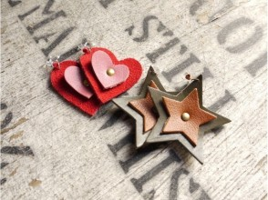 [Aichi ・ Nagoya] Shoemaker's Leather crafts ☆ Made with leather earrings