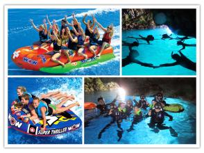 【ボートで行く青の洞窟シュノーケリング+マリンスポーツ贅沢3種】写真プレゼント・餌付け有の画像