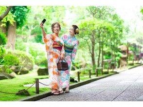 [福冈·博多·浴衣租赁- 头发套装!在雨天的日本伞免费出租♪浴衣设置租借和敷料计划!