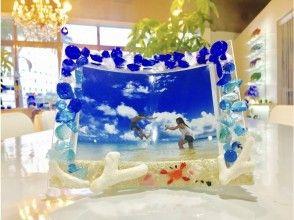 <<可以使用所有地区通用的使用优惠券冲绳/石垣岛]非常适合纪念您的旅行!相框制作琉球玻璃和珊瑚镶嵌的相框