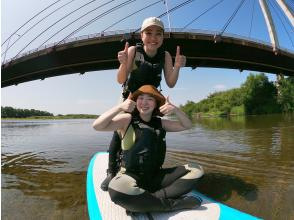 Water walk with stand-up paddle SUP in Tokachi River ♪