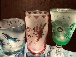 [Asakusabashi 1 minute] You can engrave your favorite pictures and letters on the glass with glass crafts that are cut with sand. Take it home immediately.