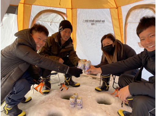 [Sapporo] ★ 35% off GOTO Discount without permission ★ Free transfer from Sapporo Empty-handed Smelt fishing on ice! With a nice souvenir ♪ Equipped with a heater in the tent!の紹介画像
