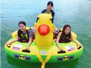 【滋賀・琵琶湖・ビッグダッキー&モーターボートクルージング】乗って撮って楽しいアヒル型チューブ!お友達同士におススメ♪
