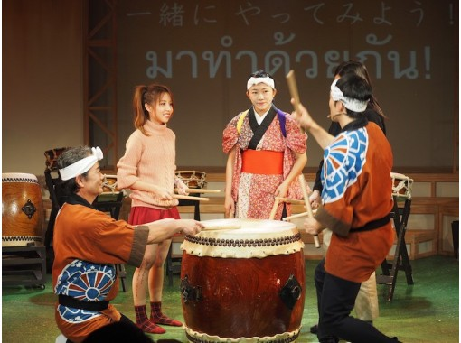 [Akita / Kakunodate] Theatrical company Warabi-za / Wadaiko experience! There are various types of drums! Practice with an actor!の紹介画像