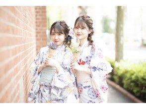 "[Kanagawa / Kamakura] 2021 new retro yukata! With hair set! ""Complete rental & dressing plan"" Free rental of umbrellas on rainy days!"