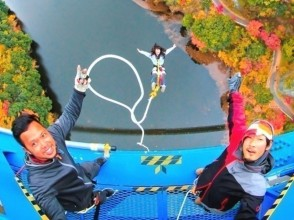 """[Ibaraki /Ryujin Large Suspension Bridge] A superb view of the Bungee jumping from a height of 100m! Ryujin Large Suspension Bridge """"Ryujin Bungy"""""""