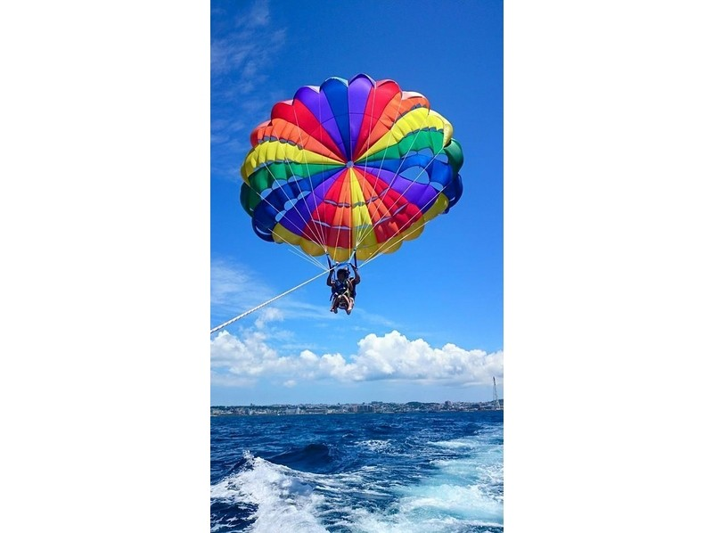 okinawa ginowan feel the okinawa sky in the mood became a bird in the whole body parasailing normal course height 100m