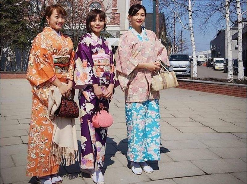 【北海道・着物レンタル】ロマン溢れる小樽の街並みを着物散策、1時間コースの紹介画像