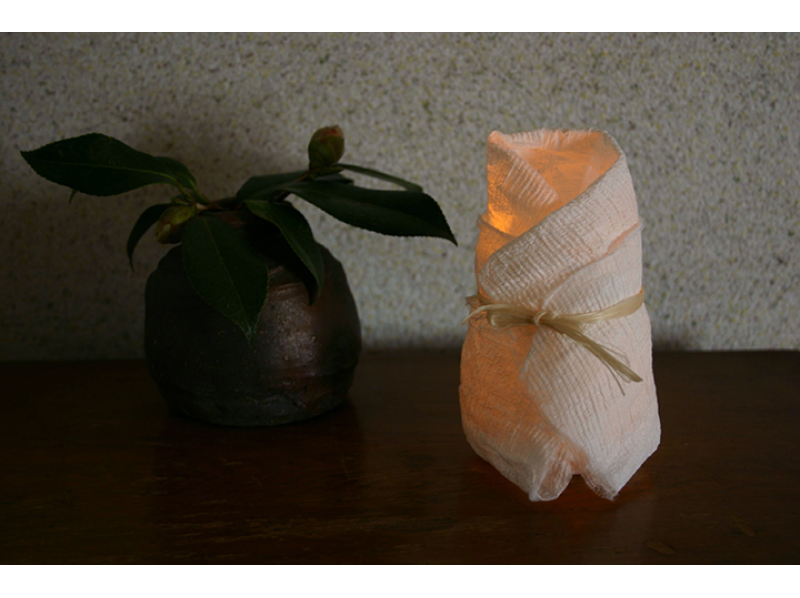 """[Tokyo Nishitama] introduction of Let's Make a papermaking """"LED mini Japanese paper candle"""" with a towel image"""