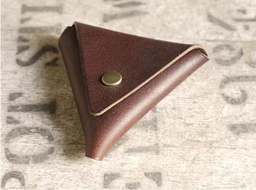 【愛知・名古屋】靴職人のレザークラフト教室☆三角コインケース作り