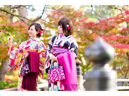 【福岡・博多・着物レンタル】ヘアセット付き!雨の日は和傘無料貸出♪本格着物一式レンタル&着付けプラン