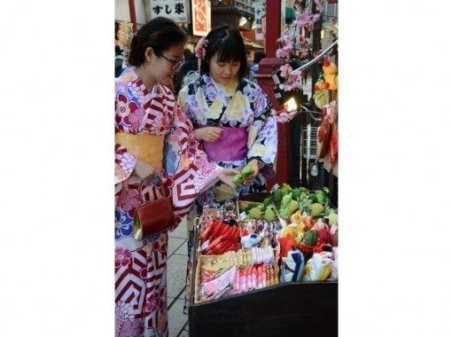 【 东京 ·浅草】让我们用和服在浅草观光!女士和服租借 Daikichi计划(头发套装和敷料)の紹介画像