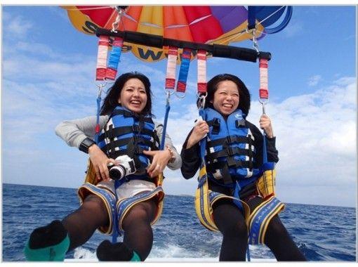 【本部発・水族館近く】ロープ長200m 絶景美ら海パラセーリング!ツアー中の撮影写真ダウンロ―ドOK