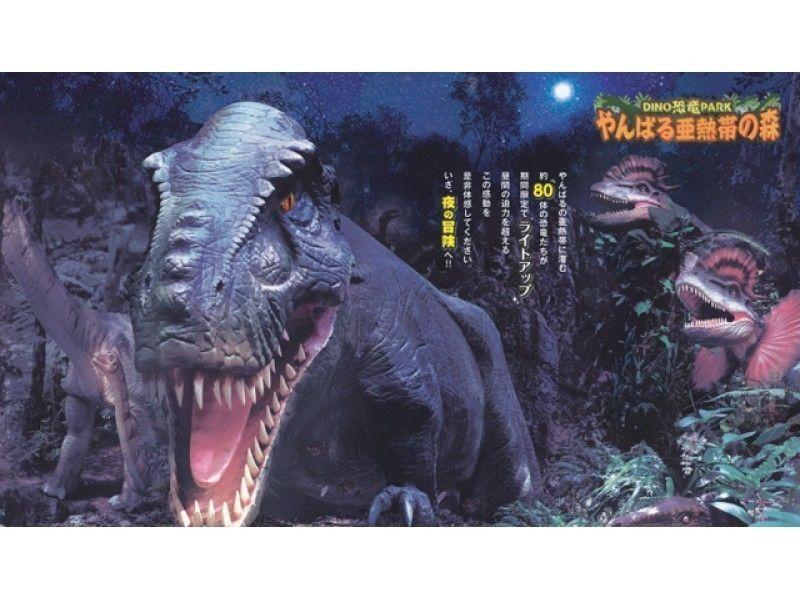 【夜の沖縄美ら海水族館へ入場】ナイトアクアリウム&夜のDINO恐竜PARKなどを巡る沖縄本島おすすめバスツアー