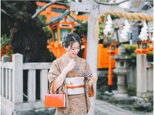 GoTo Travel Coupon可用[京都/清水寺]复古/现代/纯丝和服出租,Houmongi出租(免费带装饰,带日本味道的小礼物)の紹介画像