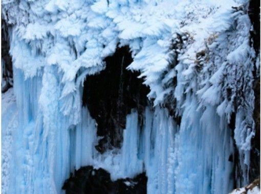 【北海道・知床】ガイドの案内で氷の柱「フレペの滝」スノーシューハイキング~6才から参加できます!