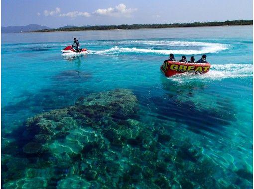 竹富島行乗船券付!幻の島上陸+マンタ・海亀シュノーケル+珊瑚礁シュノーケル(2ポイント)+マリンスポーツ16種類遊び放題コース -1DAY-の紹介画像