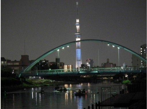 スカイツリーの夜景を見に行こう! 東京スカイツリーカヤック夜景ツアー【カヌー】 手軽にできる時間でお友達や女性同士や家族連れにおすすめです。の紹介画像
