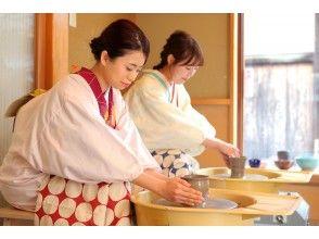 着物で陶芸も人気 ~ 割烹着をご用意します