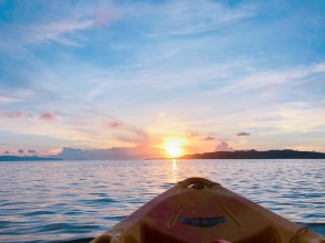 Time to row freely while watching the sunset