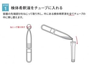 ステップ1)検体希釈液をチューブに入れる