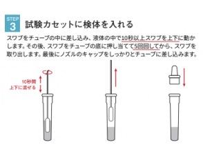 ステップ3)試験カセットに検体を入れる