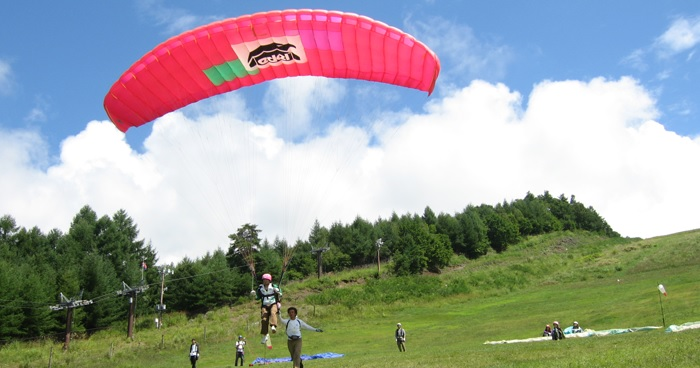 Paragliding flying in the sky