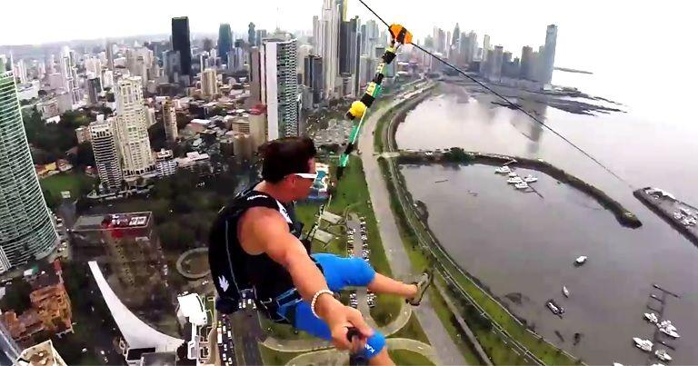 大都会でターザン『Urban Zipline』!!映像見ているだけで怖すぎる…