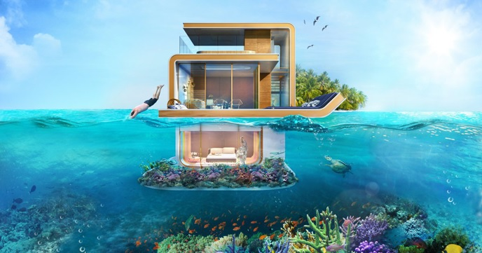 地下部分は海の中。ドバイの海上ハウス『The Floating Seahorse』が凄過ぎる!!