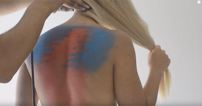 4 Surfer Girls Wearing Body Paint